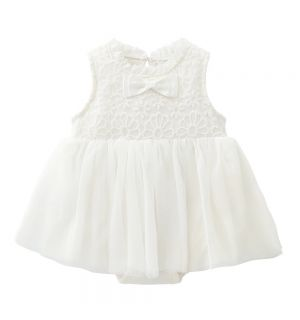 """PACK OF 4 """"NADIA"""" White Cotton Lace & Bow Dress"""
