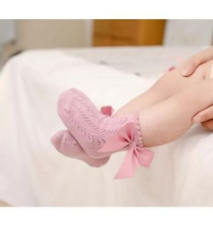 PACK OF 3 PAIRS Pink Baby Ankle Bow Socks. Sizes:6-12M,12-18M,18-24M