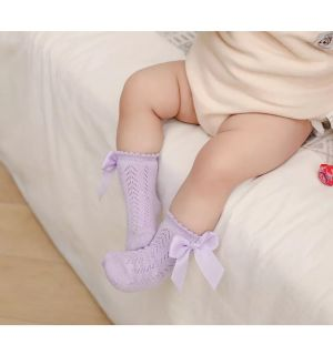PACK OF 2 PAIRS Lilac Baby Ankle Bow Socks. Sizes:6-12M,12-18M