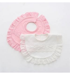 PACK OF 2 White & Pink Cotton Baby Bibs