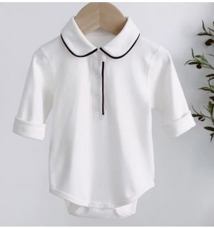 """PACK OF 4 """"LEO"""" White Cotton/Jersey Rompers"""