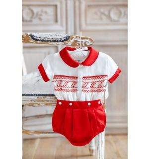 """""""GEORGE"""" RED&IVORY HAND-SMOCKED SILK SUIT"""