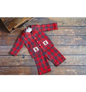 PACK OF 5 DONALD Red Tartan Hand-Smocked Cotton PJ.12M,24M,3Y,4Y,5Y