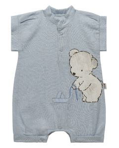 "PACK OF 3 Pale Blue ""White Bear"" Cotton/Linen Playsuits (0-3m,3-6m,6-9m)"