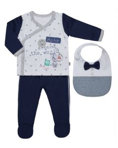 "Baby Boy ""Samson"" 3 Pcs Cotton Baby Suit & Bib Set. 0-3 Months"