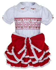 "Aurora Royal  Red @ White "" Duchess Rose "" Girls  2 Piece Hand-Smocked Set.LIMITED"