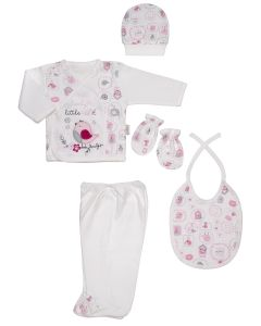 "Baby Girls "" Lovely "" Gift Set In Box. 5 Pcs. 0-3 Months"