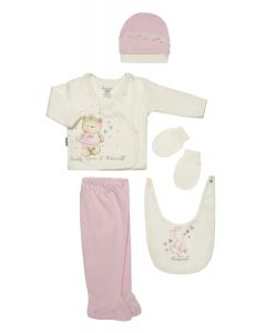 """Baby Girls """"Beauty Queen"""" Pink Gift Set In Box. 5 Pcs. 0-3 Months"""
