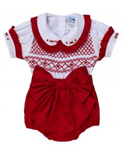 "Aurora Royal  "" Valentina "" Baby Girls Red  2 Piece Hand-Smocked Set.LIMITED."