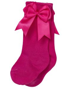 Aurora Royal Girls Knee Length Fuchia/Pink Bow Cotton Socks
