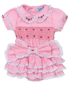 "Aurora Royal Pink "" Duchess Rose "" 2 Piece Hand-Smocked Set"