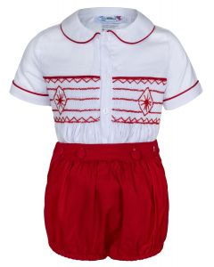 "Aurora Royal ""Prince Louis "" Red Hand-Smocked Buster Suit.LIMITED!!"