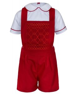 "Aurora Royal ""David "" Shirt & Red Dungarees Hand-Smocked Outfit. LIMITED"