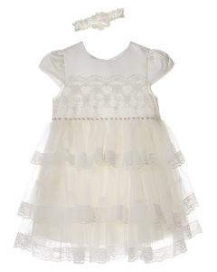 "Aurora Royal Baby Girls Ivory "" Gabriella "" Special Occasion Dress @ Headband Set"
