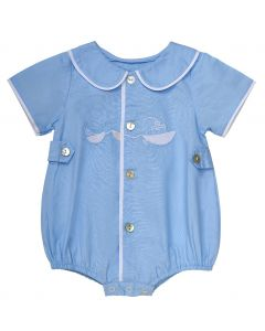 "Aurora Royal Baby Boys "" Neptune"" Hand-Embroidered Classic Romper."