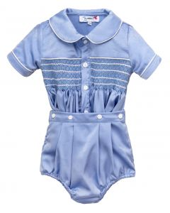 "Aurora Royal Baby Boys ""Winston"" Blue Silk/Satin Hand-Smocked Outfit."
