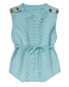 "Aurora Royal Aqua Blue Cotton Drawstring Details ""Azurro"" Romper"