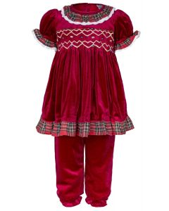 "Aurora Royal ""Antoinette"" Red Velvet Hand Smocked Outfit. LIMITED"