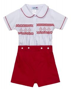 "Aurora Royal "" His Majesty"" Red Hand-Smocked Buster Suit.LIMITED!!"