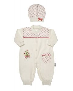 "Muslin "" Pink Daisy "" Jumpsuit & Hat Outfit. 0-3 Months"