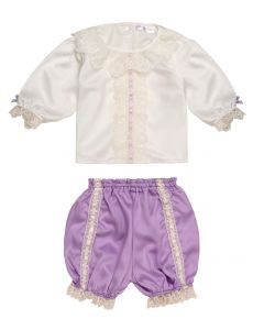"Aurora Royal Gorgeous ""Cyclamen"" Silk Satin Bloomers Set"