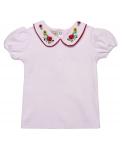 "Aurora Royal Light Pink Cotton/Jersey ""Rosa"" Embroidered T-Shirt"