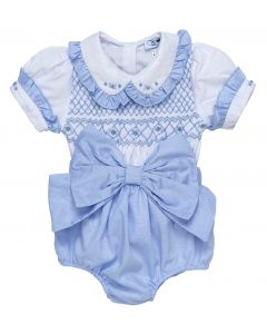 "Aurora Royal "" Valentina "" Baby Girls  Blue 2 Piece Hand-Smocked Set.LIMITED"