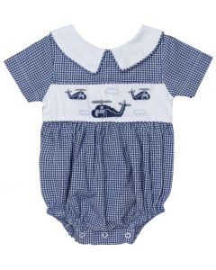 "Aurora Royal Baby Boys Embroidered "" Helicopters "" Cotton Shortie"