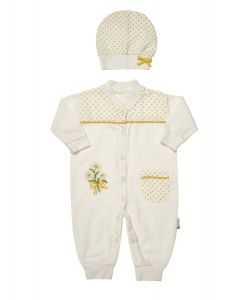 "Muslin  "" Yellow Daisy "" Jumpsuit  & Hat Outfit. 0-3 Months"