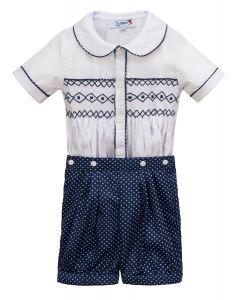 "Aurora Royal ""  Nicky  "" White & Navy Blue Hand-Smocked Buster Suit."