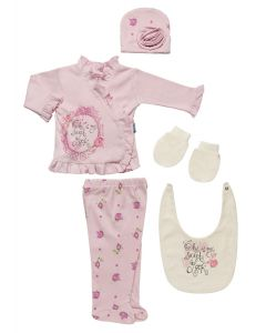 "Baby Girls ""Charmant"" Pink Gift Set In Box. 5 Pcs. 0-3 Months"