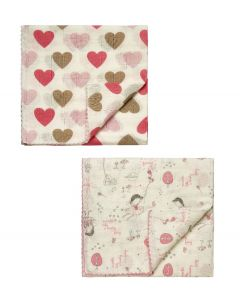 "Pack Of 2 "" Fairy & Heart ""  Supersoft & Absorbent Swaddle Blankets"