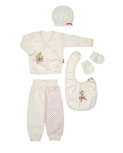 "Baby Girls "" Pink Daisy "" Muslin Gift Set In Box. 5 Pcs. 0-3 Months"