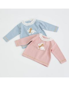 "Aurora Royal Pale Blue "" Flopsy "" Cotton Mix Soft Knitted Jumper"
