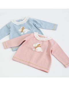 "Aurora Royal Dusky Pink  "" Flopsy "" Cotton Mix Soft Knitted Jumper"