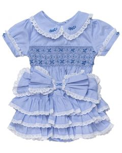 "Aurora Royal "" Duchess Rose ""  Girls Blue 2 Piece Hand-Smocked Set.LIMITED"