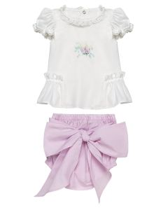 "PACK OF 3 Aurora Royal "" Evita "" Baby Girls Pink Shorts & White Tunic Set."
