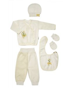 "Baby Girls "" Yellow Daisy "" Muslin Gift Set In Box. 5 Pcs. 0-3 Months"