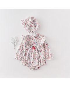 "Aurora Royal "" Merilyn""Cotton Romper & Bonnet Set"