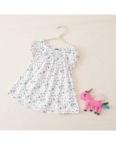"Girls "" Daria "" Liberty Print Cotton Jersey Smocked Dress"