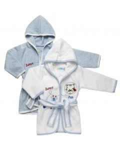 """PACK OF 2 """" Sweet Fun """" Boys White & Blue Hooded Cotton Robes"""