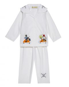 "Aurora Royal ""Jack Sparrow"" Cotton Poplin Embroidered Pyjamas Set"