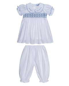 "Aurora Royal ""  Snow Drop  "" White  Hand-Smocked Traditional Pyjamas Set. LIMITED"
