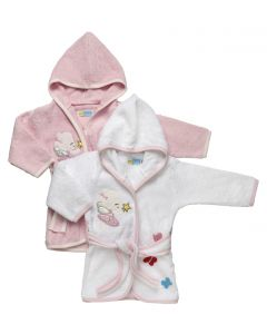 """PACK OF 2 """" Tinker Bell """" Girls  White & Pink Hooded Cotton Robes"""