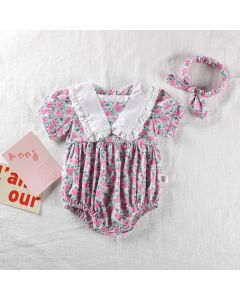 "Aurora Royal ""Amelia""Cotton/Poplin Romper & Headband Set"