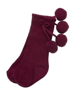 Aurora Royal Burgundy Pom-Pom  Cotton Socks