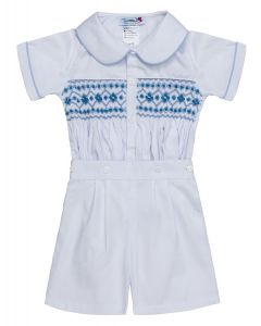"Aurora Royal "" Raphael "" White & Blue  Hand-Smocked Buster Suit."