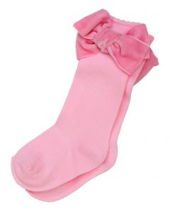 Aurora Royal  Knee Length Pink Velvet  Bow Cotton Socks