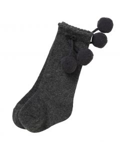 Aurora Royal Boys Dark Gray Pom-Pom  Cotton Socks