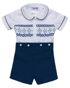 "Aurora Royal ""  Nicky  "" White & Navy Blue Hand-Smocked Buster Suit. LIMITED"